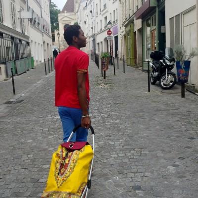 Chariot de courses en wax dashiki jaune