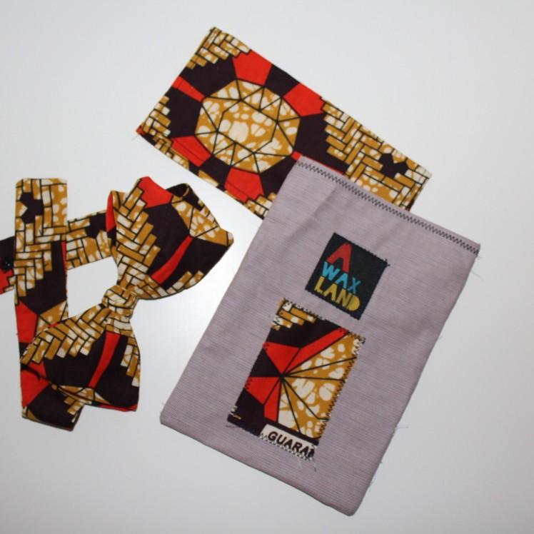 Noeud papillon et carré en tissu wax, Accessoire wax et design wax.