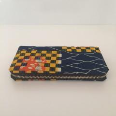 Portefeuille simple zip wax damier bleu jaune