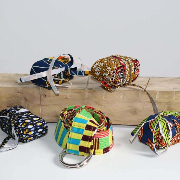 Accessoire wax awaxland: ceinture à boucle en tissu wax