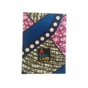 Carnet de note en tissu wax rose bleu