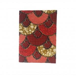 Carnet de note en tissu wax éventail rouge