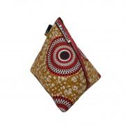 Sac pochette, clutch ethnique berlingot wax rond rouge marron