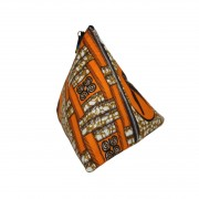 Sac pochette, clutch ethnique berlingot wax hirondelle orange