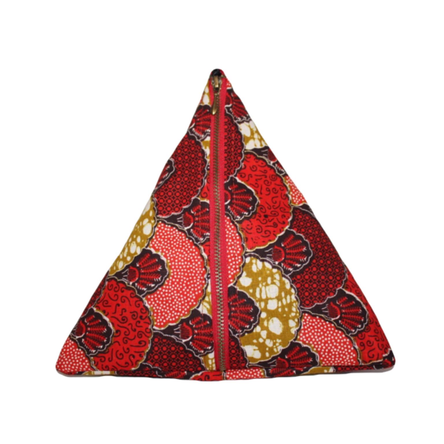 Sac pochette, clutch ethnique berlingot wax éventail rouge