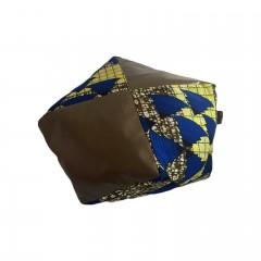 Grand coussin bi matière tissu wax sapin bleu