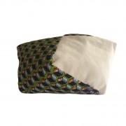 Grand coussin bimatière tissu wax cube vert