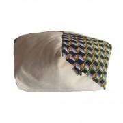 Grand coussin bi matière tissu wax cube vert