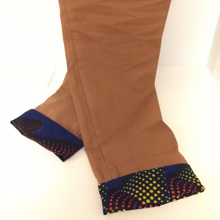 Accessoire wax: revers de pantalon réversibles, ourlets amovibles en tissu wax
