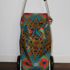 Chariot de course en wax géométrique multicolore