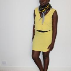 Écharpe mixte légère wax fuseau rouge jaune bleu