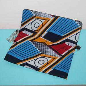 Sac pochette «La Parisienne» : motifs bleu, jaune et rouge