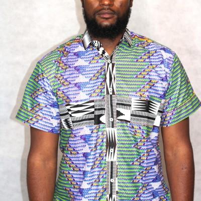 Chemise chemisette wax homme africain boubou
