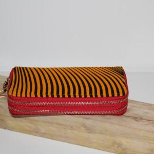Portefeuille simple zip wax vague rouge jaune
